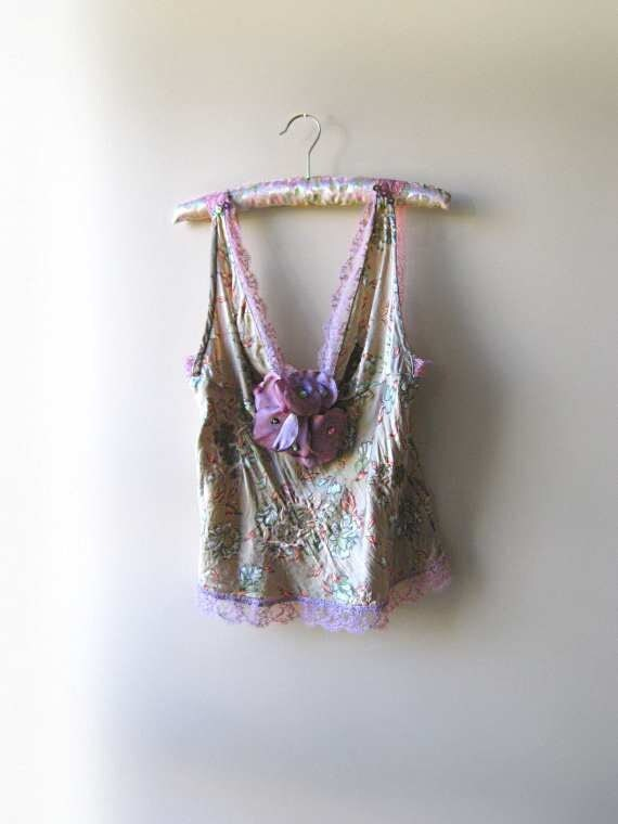 Lavender Field Top, Tank, Silk, Embroidered, Soft green, Purple, Flower, Pretty, Rustic, Bohemian