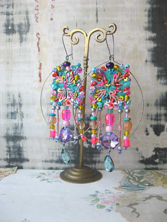 RESERVED - Exotic Shimla Earrings, Vintage Embroidered Silk, Pink, Blue, Purple, Yellow, Large Hoops, Bohemian Gypsy
