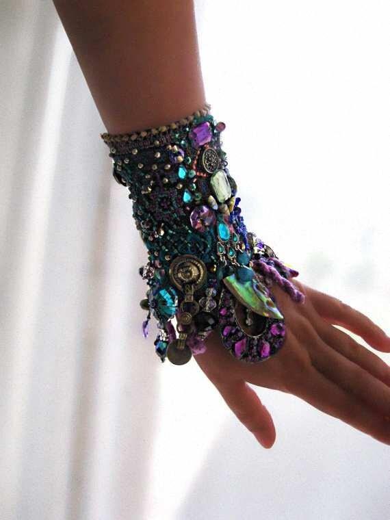 Cool Mystique Gypsy Jangle Bracelet, Heavily Beaded, Jeweled, Purple, Blue, Green, Black, Silver, Bohemian