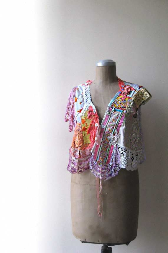 Tropical Cropped Jacket, Asymmetrical, Blouse, Vintage Lace, Embroidered, Cream, Purple, Pink, Aqua, Orange, Bohemian Gypsy