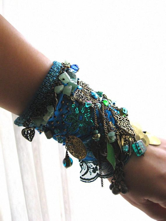 Teal Blue Gypsy Jangle Bracelet Green Silk Beaded