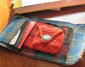 Plaid mix wallet with coin purse