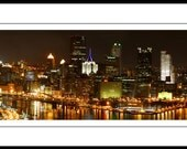 "Pittsburgh Downtown Skyline Panoramic - Three Rivers 8"" x 32"" Photograph"