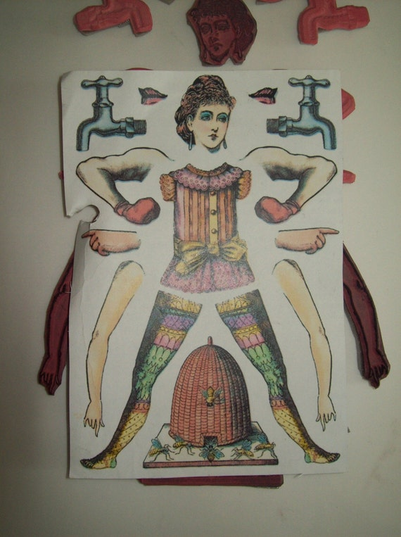 Female Body Parts Collage Style Rubber Stamps By
