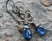 KYANITE earrings, silver earrings, oxidized sterling silver