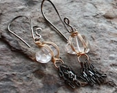QUARTZ crystal nugget Mixed METAL tassle earrings, sterling silver and gold filled, 14k gold filled
