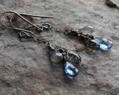 Multi gemstone earrings, KYANITE silver earrings, Gray MOONSTONE, Tourmalated Quartz, oxidized sterling silver
