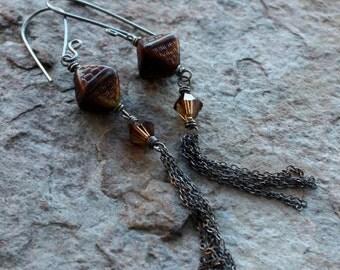 Brown CZECH glass earrings, tassel earrings, diamond shaped brown earrings, sterling silver