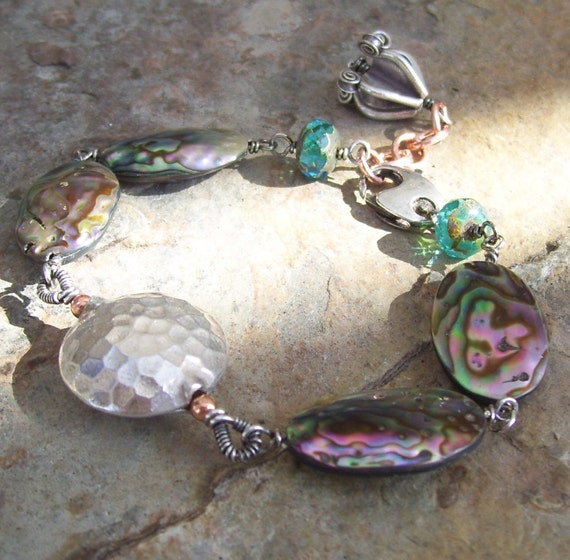 SALE- ABALONE, oxidized sterling, and copper bracelet with Czech glass accents, Reduced Sale