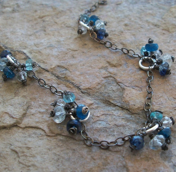 Gemstone necklace with KYANITE, APATITE, AQUAMARINE, and Quartz  cluster necklace, oxidized sterling silver