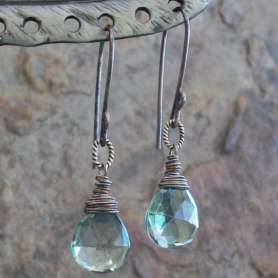 MYSTIC green QUARTZ earrings with sterling silver