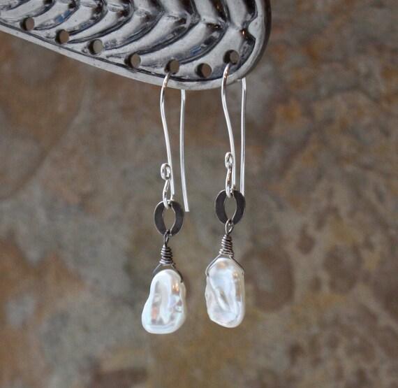 CIJ sale-  KESHI Pearl earrings, JUNE birthstone, Keishi Pearl silver earrings, beige jewelry