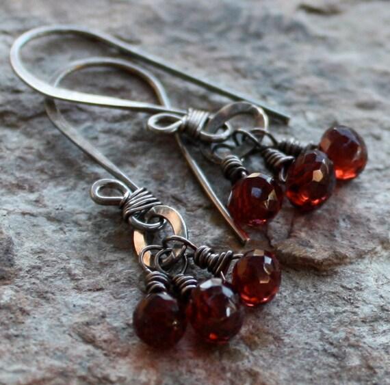 GARNET earrings, JANUARY birthstone earrings, Garnet silver earrings, Garnet briolette earrings, sterling silver