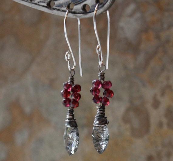 GARNET earrings, TOURMALATED Quartz earrings with sterling silver