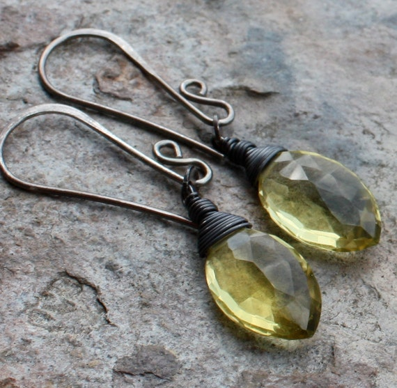 LEMON Quartz earrings sterling silver, minimal jewelry