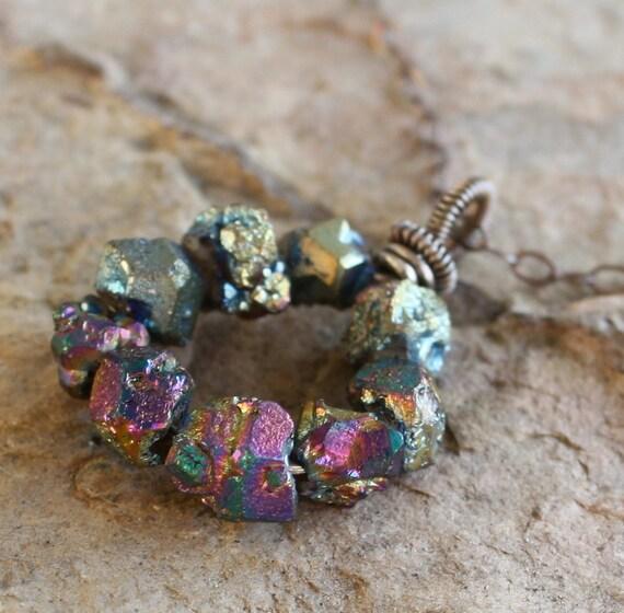 TITANIUM druzy necklace, titanium drusy pendant, titanium druzy nugget necklace, sterling silver, druzy jewelry