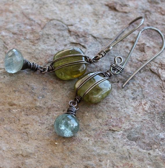 AQUAMARINE earrings, Green GARNET earrings Aquamarine and green Garnet, sterling silver
