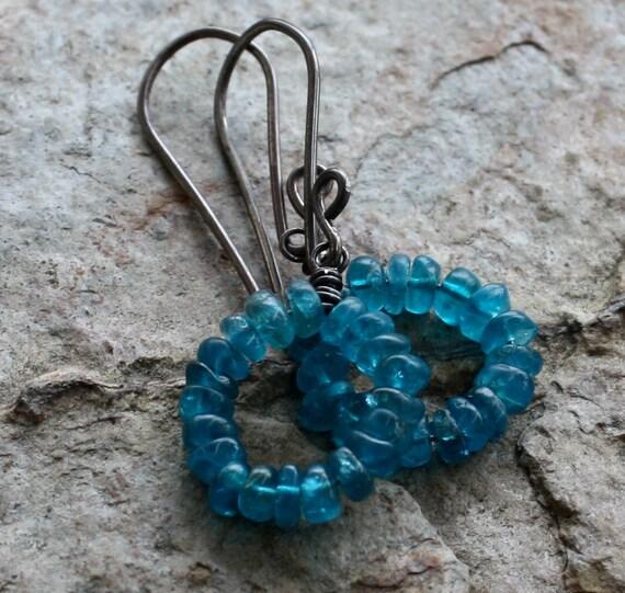 APATITE earrings, peacock blue Apatite hoop earrings, sterling silver