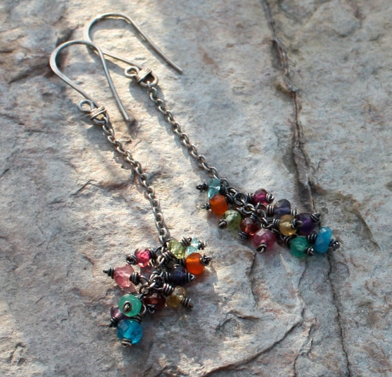 MULTI GEMSTONE earrings, RAINBOW cluster of multi gems on long sterling silver chains, oxidized sterling silver