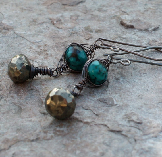 PYRITE earrings, TURQUOISE earrings woven sterling silver, Pyrite and Turquoise