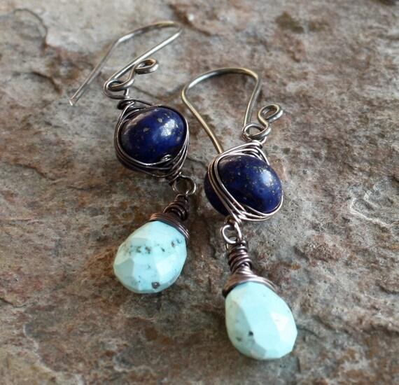 LAPIS earrings, PERSIAN TURQUOISE earrings, woven earrings sterling silver