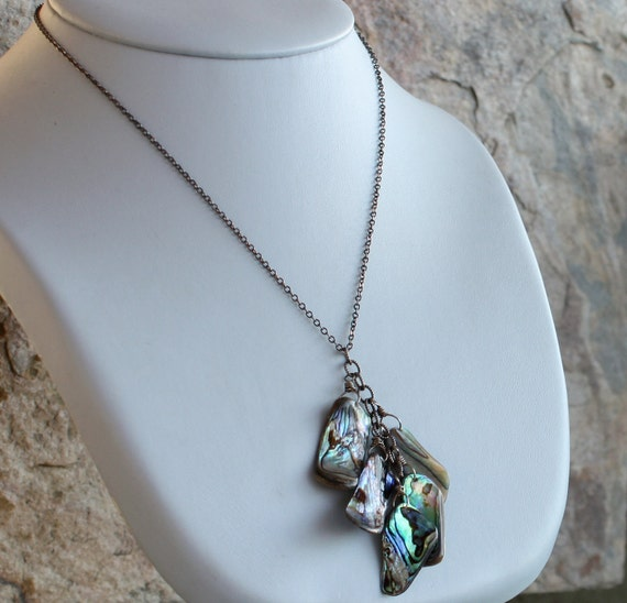 ABALONE necklace, Y Necklace, sterling silver
