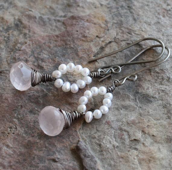 ROSE QUARTZ earrings, freshwater PEARL earrings, pink sterling silver earrings