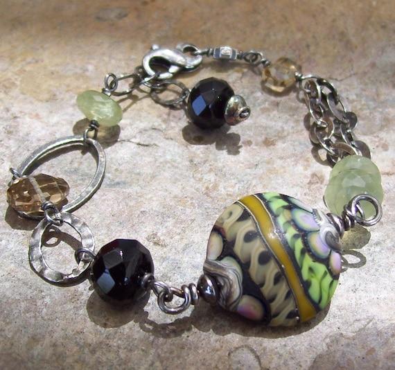 PREHNITE, champagne CITRINE, Onyx and lampwork bracelet, oxidized sterling silver, reduced, sale