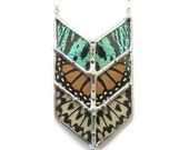 Chevron Geometric Butterfly Necklace