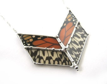 Chevron Real Butterfly Necklace - Monarch and Idea