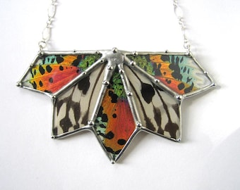 Statement Necklace - Real Butterflies and Moths Fan