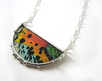 Madagascan Sunset Moth Half Moon Necklace - Real Butterfly Jewelry