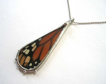 Real Monarch Butterfly Teardrop Necklace