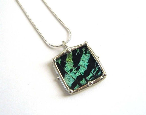 Little Square Sunset Moth Necklace