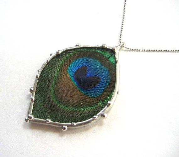 Real Peacock Feather Necklace