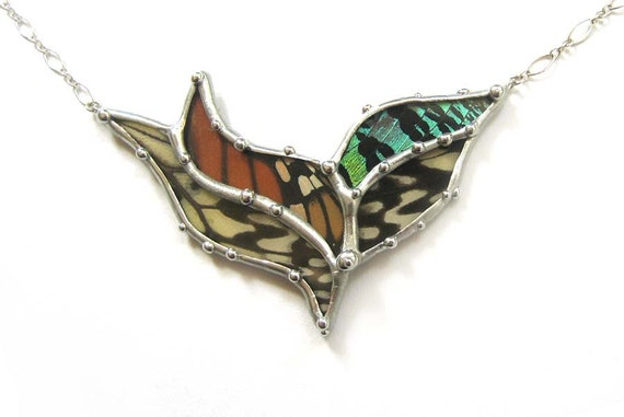 Abstract Butterfly Necklace - Real Butterfly Jewelry
