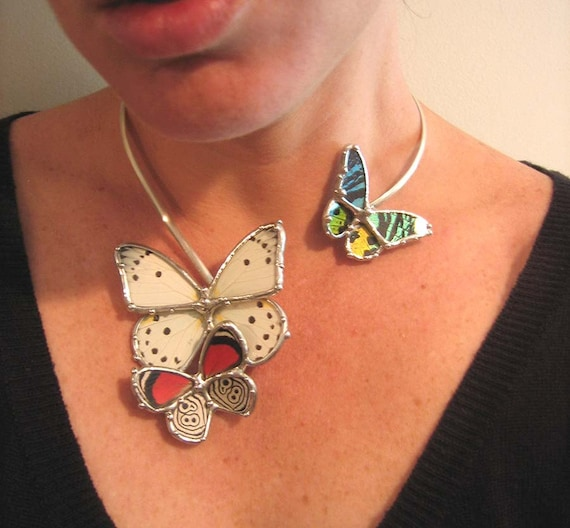 Butterflies Alight Necklace - Woodland Bride - Insect Jewelry