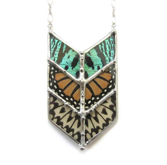 Chevron Geometric Butterfly Necklace