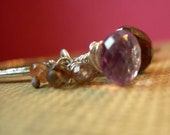 Late for School - pink amethyst, smoky quartz and andalusite hand forged silver and gemstone bracelet