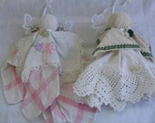Pair of Vintage Linen Angel Ornaments