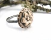 50% Off SALE - Bronze Flower Ring  - Size 7.25 - OOAK
