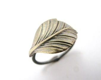 Golden Leaf Ring - Sterling Silver and Vintage Brass