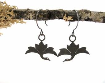 Crane Earrings - hand cut sterling silver