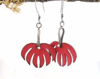 Efflorescence Earrings in Red- Enameled Copper and Sterling Silver