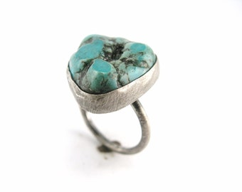 SUPER SALE! Rough Turquoise and Sterling Silver Ring Size 7 OOAK