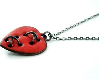 Mended Heart Necklace - Sterling Silver and Enameled Copper