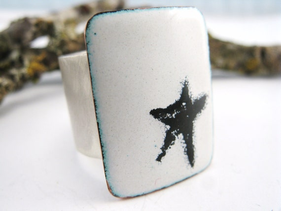 Superstar Ring - Sterling Silver and Enameled Copper - OOAK