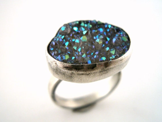 Ice Queen Ring - Sterling Silver and Drusy Size 7.5 OOAK