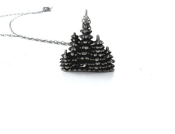 50% OFF SALE! Evergreen Pendant - Hand Cast in Sterling Silver