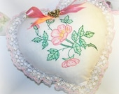 Pillow Heart Hand Embroidered Floral Pink